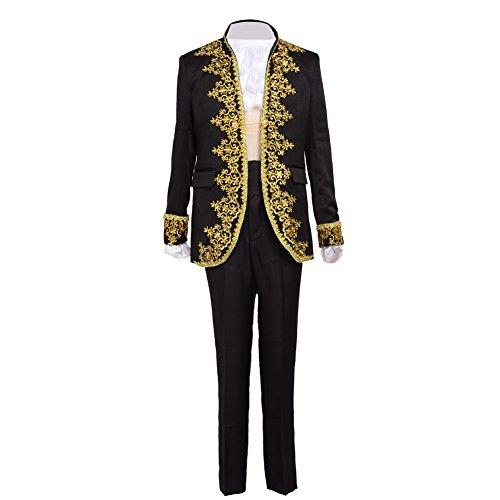 Blessume barocco principe cosplay costume (l, nero)