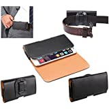 DFV mobile - Case belt clip synthetic leather horizontal smooth for => LANDVO L600S > Black