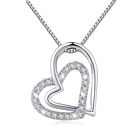 LEVIOLET Schmuck Damen Herz Anhänger Silber 925 Herzkette Doppel Liebe Herzen Halskette mit 45cm Sterling Silber Kette Geschenk für Frauen