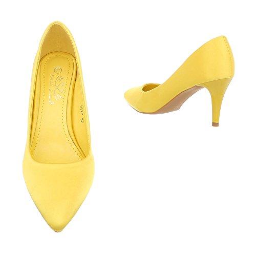 Ital-Design Scarpe da Donna Scarpe Col Tacco Tacco a Spillo Classico Scarpe Col Tacco giallo HS77