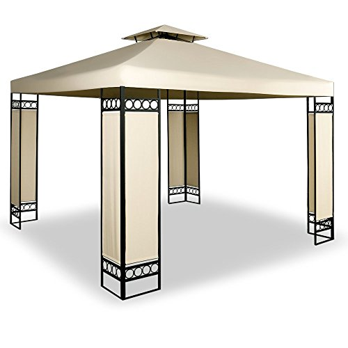 Gazebo Marquee 3x3m Lorca – Garden Party Outdoor Tent Reception & Ventilation – Cream Creme