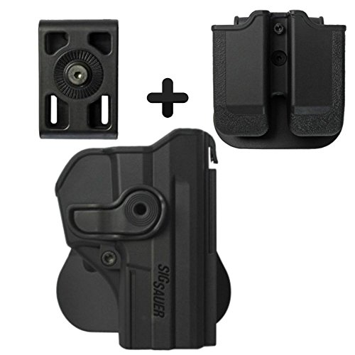 IMI Defense Z1290 Tactical Combo Kit Roto Retention Paddle Holster + Double Magazine Pouch + Belt Holster Attachment For Sig Sauer Pro SP2022/SP2009 Pistol Handgun -