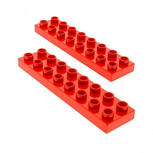 2 x Lego Duplo Bau Basic Platte rot 2x8 Stein für Set 6158 5795 5639 10504 9217 44524 (Lego Duplo Bau)