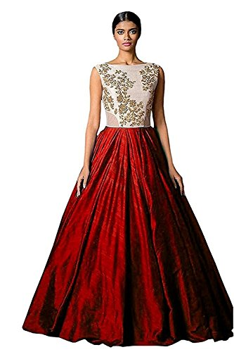 Gown(Roop Craft Women's Semi-Stiched Gown Attrective Red Color Designer Gown For Party...