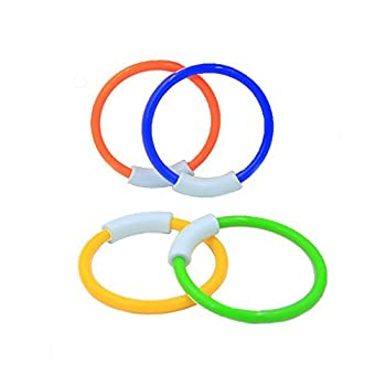 Wotow Dive Rings, 4 Piece Plastic Diving Rings Underwater Swimming Toy Rings Dive Training Gift For Boy Girl Students Recreation Play Summer Pool Toy Assorted Colors Dive Rings Kids Pool Water Game (4 Pcs) 3