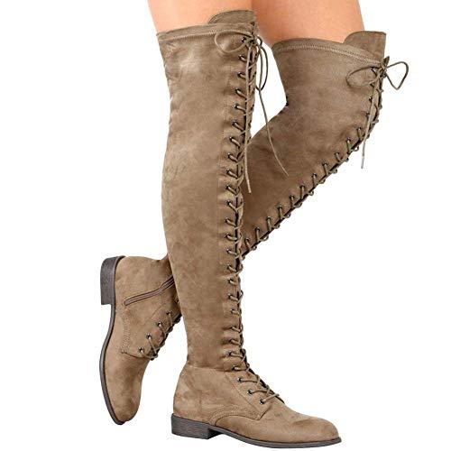 Stiefel Damen Overknee Stiefel Flach Winter Flachen Wildleder Schnüren Plateau High Boots...