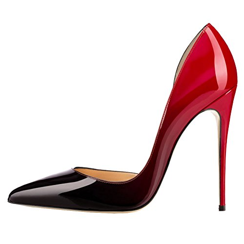 MERUMOTE Damen Y-018 Slip-On Pointed-toe High Heel Dame Dress Pumps Designer Schuhe EU 35-46 Rot-Schwarz