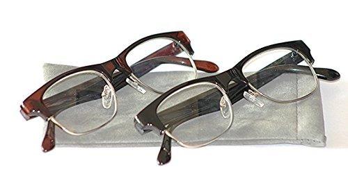 MT501 Clubmaster retro Lesebrille & Metall gefedert Tasche + 1.0+1.5+2.0+2.5 erhältlich in schwarz oder braun Rahmen - Braun