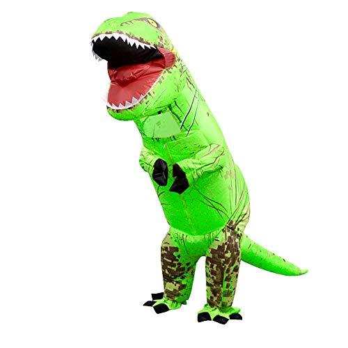(Foru-1 Aufblasbares Dinosaurier-Kostüm T-Rex Kinder-Kleid Cosplay Anzug für Kinder 130-160 cm (Grün))