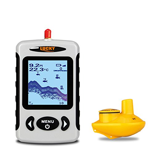 Lucky Portable Wireless Depth Finder, Angeln Sonar Sensor Transducer mit längerer Reichweite Antenne, Fischfinder Alarm mit LCD-Display