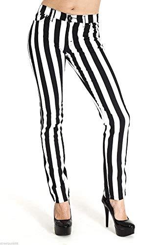 Run & Fly Neu Damen Skinny Stretch Mid Rise Schwarz und Weiß 1 Streifen Jeans Indie Retro - schwarz mit weiß Streifen, Schwarz mit Weiß Streifen, UK 12-30