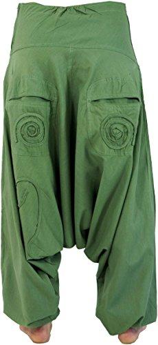Guru-Shop Goa Pluderhose, Aladinhose, Damen, Baumwolle, Size:40, Pluderhosen, Aladinhosen Alternative Bekleidung Grün