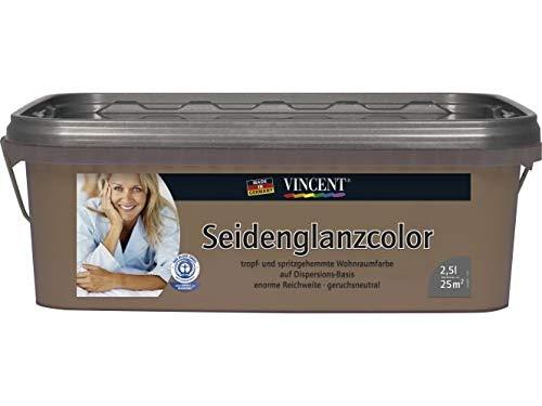 Vincent Wandfarbe Dispersionsfarbe Innenfarbe Seidenglänzend, 2,5 L FARBWAHL, Farbe:Sand