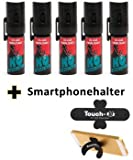"5 Stück K.O. - Spray 007 CS-Gas, Reizgas - 15ml - inkl. Smartphonehalter ""TOUCH-U"""