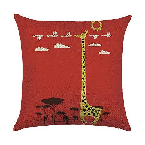 OPoplizg Creative Animal Giraffe Elk Deer Cushion Covers 120g Thick Cotton Double-Sided Red Grey Pillow Case Cushion for Home Chair Sofa Bed Shop Bar Club Car Office Decor 45cm x 45cm(18 x 18inch)