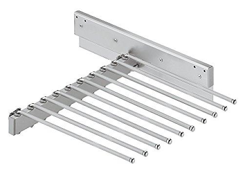 Hosenauszug ausziehbar Kleiderschrank Hosenhalter für 10 Hosen | Stahl verchromt | 465x480x100 mm | Möbelbeschläge von GedoTec®