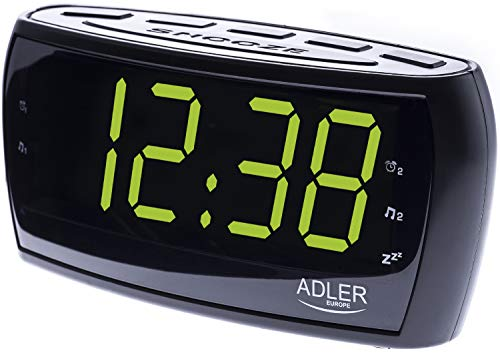 Uhrenradio | Radiowecker | Dual Alarm | XXL 1,8 Zoll LED Display | Dimmerfunktion | Helligkeitsregler | Schlummerfunktion | Backup-Funktion | 2 Weckzeiten | Sleep Timer | integrierte Lautsprecher