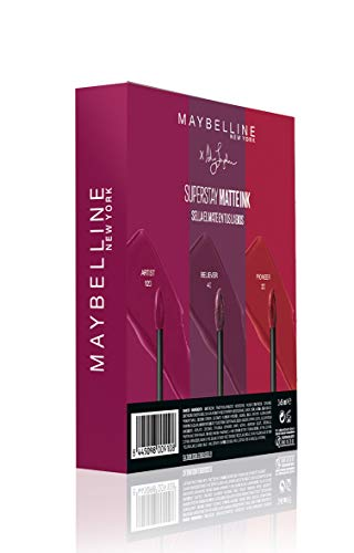 Maybelline New York - Cofre de 3 Pintalabios Superstay Matte Ink, Edición Limitada Ashley Longshore, Incluye los Tonos 20 Pioneer, 40 Believer y 120 Artist