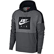 Nike NSW FLC PO Sudadera con Capucha, Hombre, Gris (Carbon Heather / Negro / Dark Grey), L
