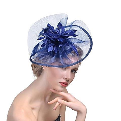 DUUMY Femmes 2017 New mode Feather net Harnais Banquet Chapeau Chevaux Chapeaux Danse Bride Gauze Handmade Headdress Bijoux de Mariage , navy