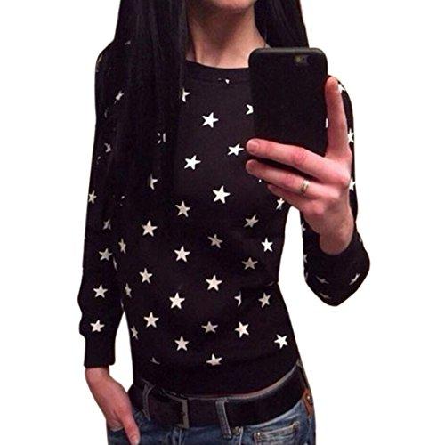 Cinq Motif etoile femme manches longues en coton ronde T-shirt ras du cou Chemisier Noir