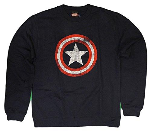 Offiziell lizenziertes Herren Captain America Distressed Shield Crewneck Sweatshirt (Gro?) (Lizenzierte Offiziell Crewneck)