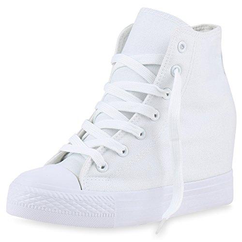 SCARPE VITA Damen Sneakers Keilabsatz Sneaker-Wedges Trendfarben  Stoffschuhe 165499 Weiss 41 e9012724c8