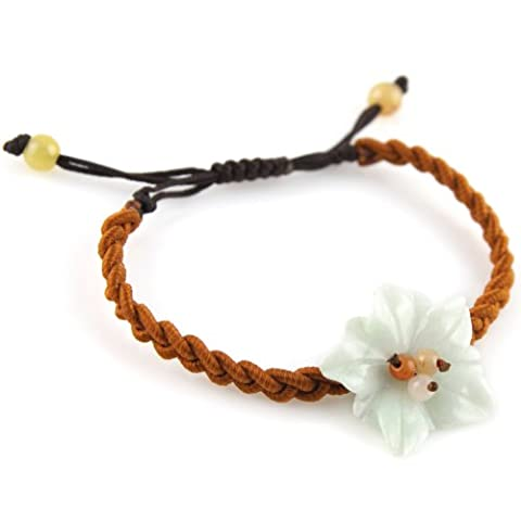 Irridecent White And Green Accent Jade Stone Flower And Beads