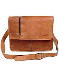 Anshika International Genuine Browm Leather Messenger Bag For Boys/Girls
