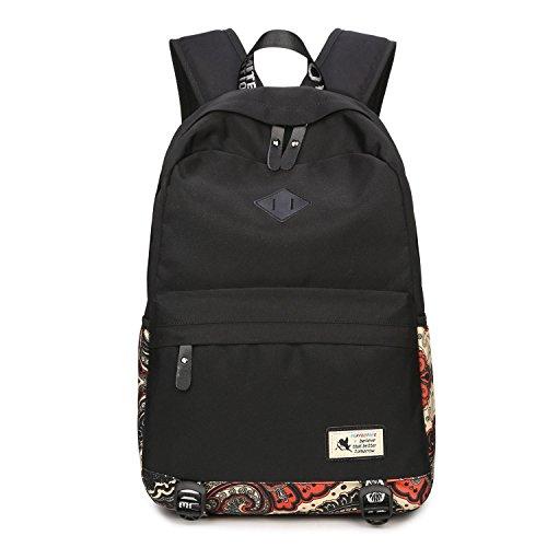 Neuleben Mädchen Damen Schulrucksack mit Laptopfach Wasserabweisend Rucksack Schultasche Daypack Vintage (Schwarz)