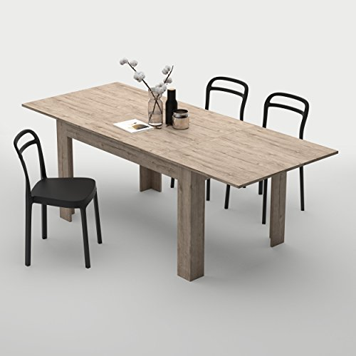 Mobilifiver Table extensible Cuisine, Easy, Chêne naturel, 140 x 90 x 77 cm, Mélaminé, Made in Italy