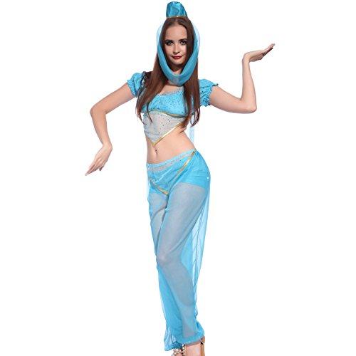 Blau Arabische Prinzessin Jasmin Bauchtaenzerin 1001 Nacht Harem Kostuem Fasching Karneval (Prinzessin Kostüme Arabischen Blau)