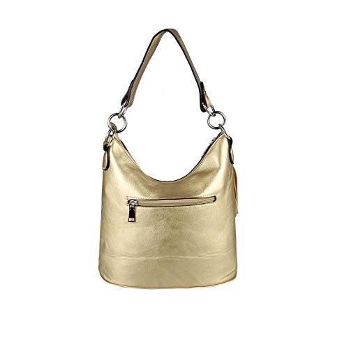 italyshop24_com, Borsa tote donna marrone Dunkelbraun29x28x20 cm ca.: 29x28x20 cm (BxHxT) Oro