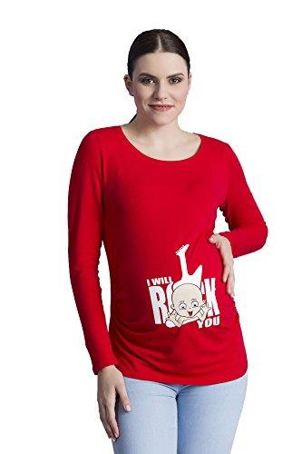 Daisy Langarm-shirt (I Will Rock You - Witzige Süße Umstandsmode T-Shirt mit Motiv Schwangerschaft, Langarm (Large, Rot))