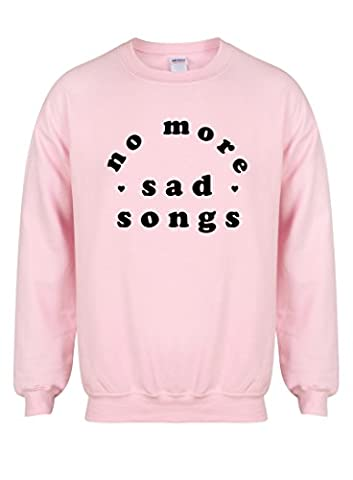 No More Sad Songs - Pink - Unisex Fit Sweater - Fun Slogan Jumper (Medium - Chest 38-40 inches, w/Black)