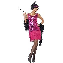 Smiffys Disfraz de chica joven divertida años 20, rosado fuerte, con vestido, tocado, collar