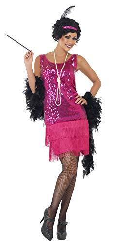 Smiffys Funtime Flapper Kostüm Knallrosa mit Kleid Kopfschmuck Halskette, Medium