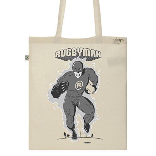 Tote Bag Imprimé Ecru - Toile en coton bio - Rugbyman