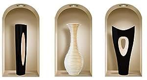 Nisha 353 Autocollant XXL Vases Luciano Arcade PVC Vinyle Multicolore Lot de 3