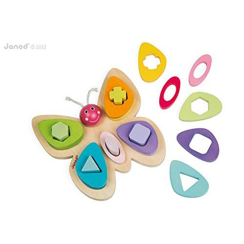 Janod - Jouet d'éveil - Papillon des Formes - Bois - 16 pièces