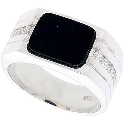 """Revoni-Bracciale in argento Sterling, da uomo, colore: nero Onyx-Anello rettangolare, con scanalature a due luci, 8 a-Side & zirconia cubica, 7/(16 40,64 cm (11"""") mm) di larghezza"""