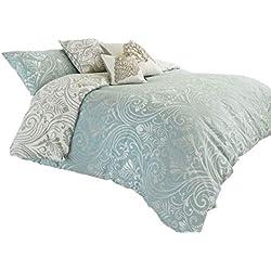 Damast Entenei blau umkehrbar Baumwollmischung Doppelbett Bettwäsche