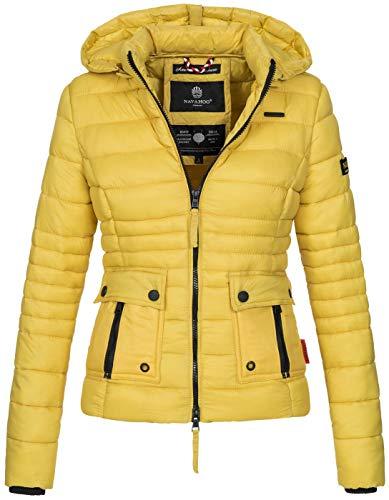 Navahoo Damen Jacke Steppjacke Übergangsjacke mit Kapuze gesteppt [B602-Gelb-Gr.XL]