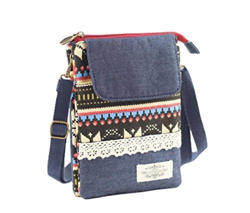 Kleine Stoff-Umhängetasche | Schultertasche | Kosmetiktasche | Handytasche für Damen u. Jugendliche aus Baumwolle – Origineller, verspielter Indio/Ethno/Patchwork Look (Bunt 1)