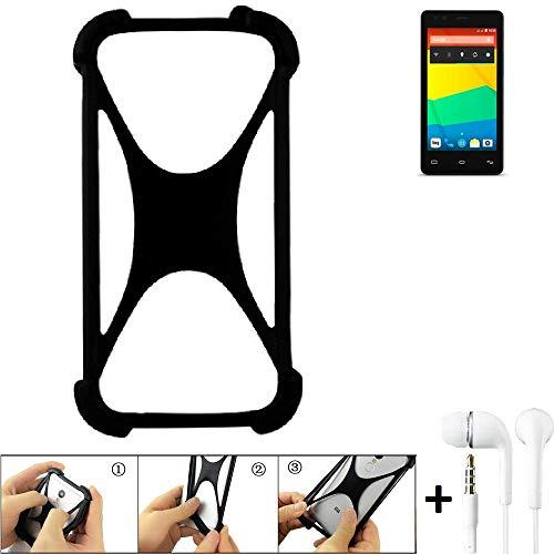 K-S-Trade Handyhülle für BQ Readers Aquaris E4.5 Schutzhülle Bumper Silikon Schutz Hülle Cover Case Silikoncase Silikonbumper TPU Softcase Smartphone, schwarz (1x), Headphones