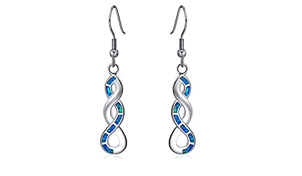 Boucles dOreilles Pendantes pour femme Naby-moussa Bleu opale de feu Argent poin/çonn/é 925/Oe692