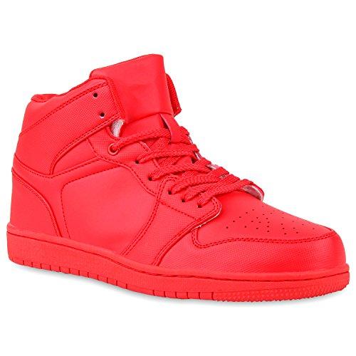 Basketball Sneaker High Nieten Sneakers Sport Camouflage Cultz Damen Herren Sport Übergrößen Schuhe 106050 Rot Total Berkley 41 | Flandell® (Rot Activewear)