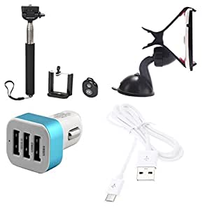 High Quality Selfie Stick , Mobile Holder , 5V/2.1 A Tripple (3) Jack USB Car...