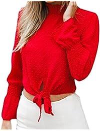 Jahuto Blusa de chifón de Manga Larga con Cuello en V para Mujer Blusa de chifón