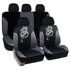 eSituro universal Auto Schonbezug Komplettset Sitzbezüge für Auto mit Drache Muster schwarz/grau SCSC0028